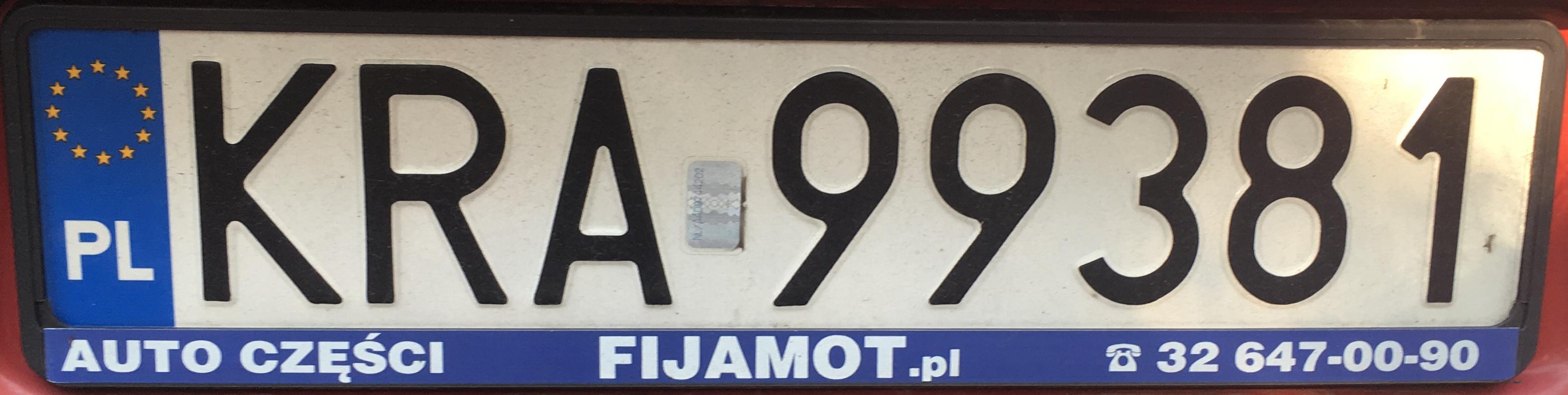 Registrační značka Polsko - KRA - Kraków-venkov, foto vlastní