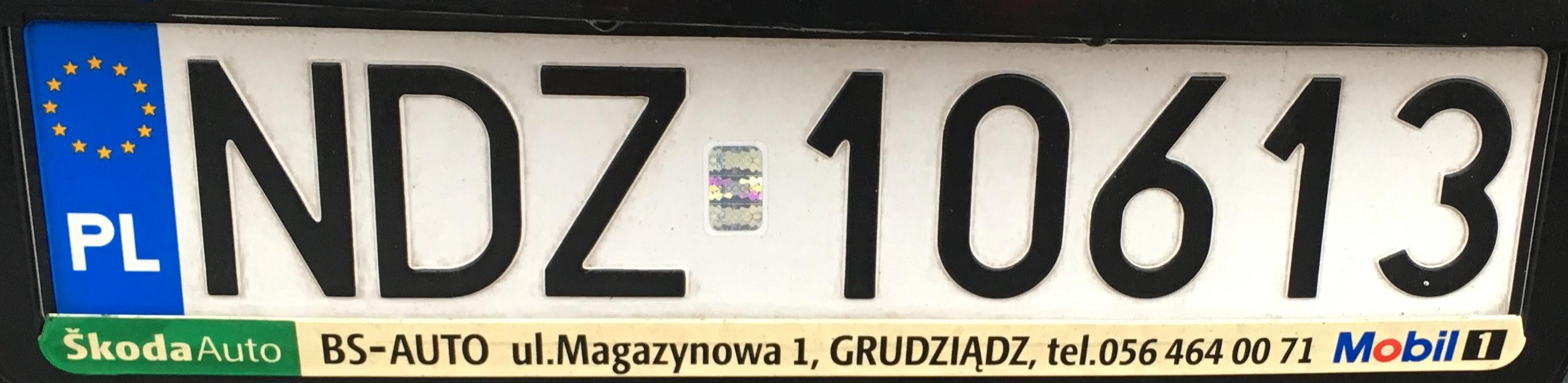 Registrační značka Polsko - NDZ - Działdowo, foto: vlastní
