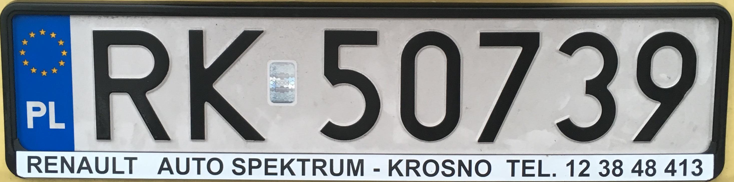 Registrační značka Polsko - RK - Krosno, foto: vlastní