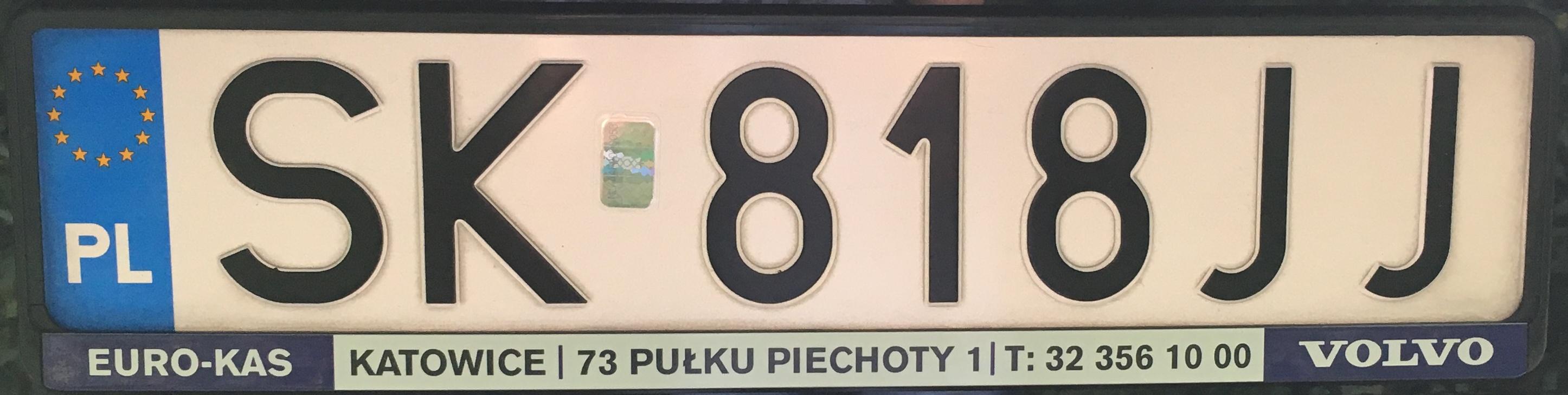 Registrační značka Polsko - SK - Katowice, foto: vlastní