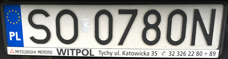 Registrační značka Polsko - SO - Sosnowiec, foto: www.podalnici.cz