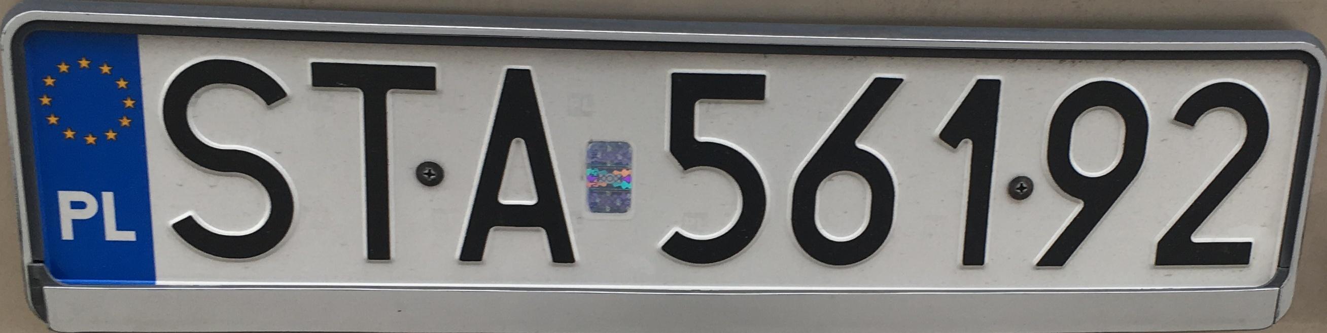 Registrační značka Polsko - STA - Tarnowskie Góry, foto: vlastní