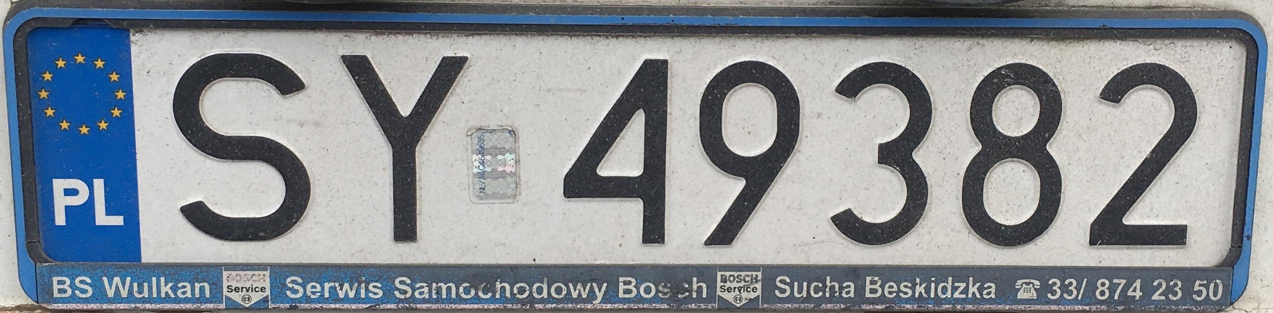 Registrační značka Polsko - SY - Bytom, foto: vlastní