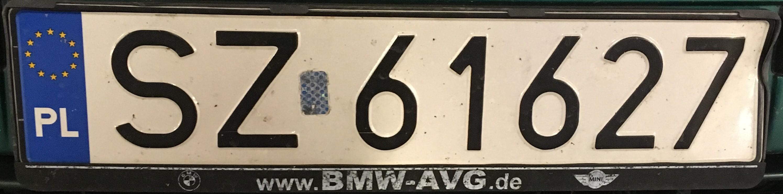 Registrační značka Polsko - SZ - Zabrze, foto: vlastní