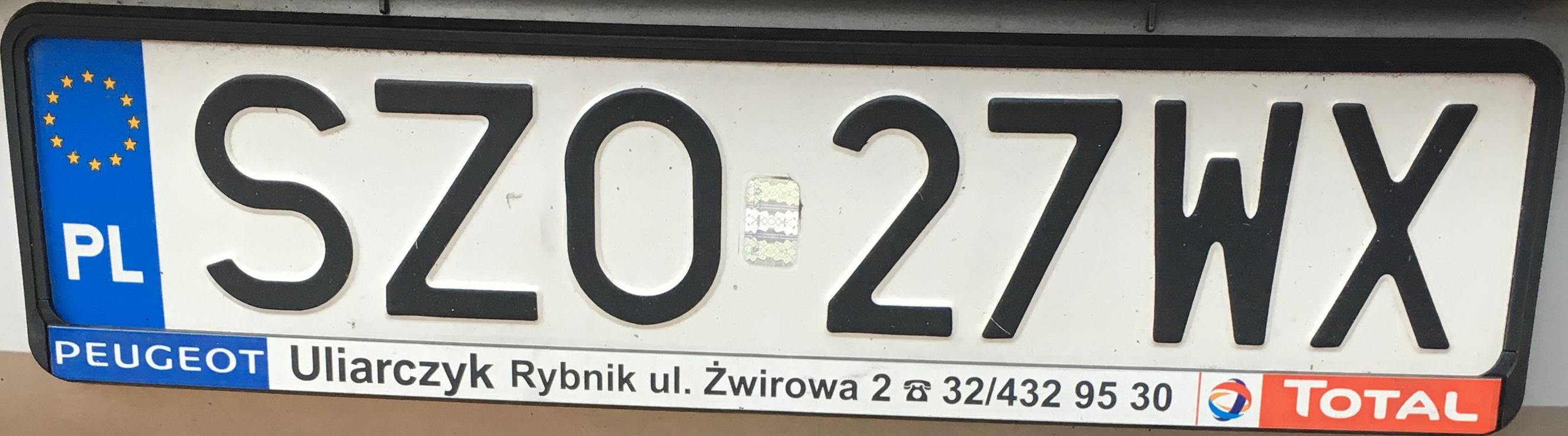 Registrační značka Polsko - SZO - Żory, foto: www.podalnici.cz