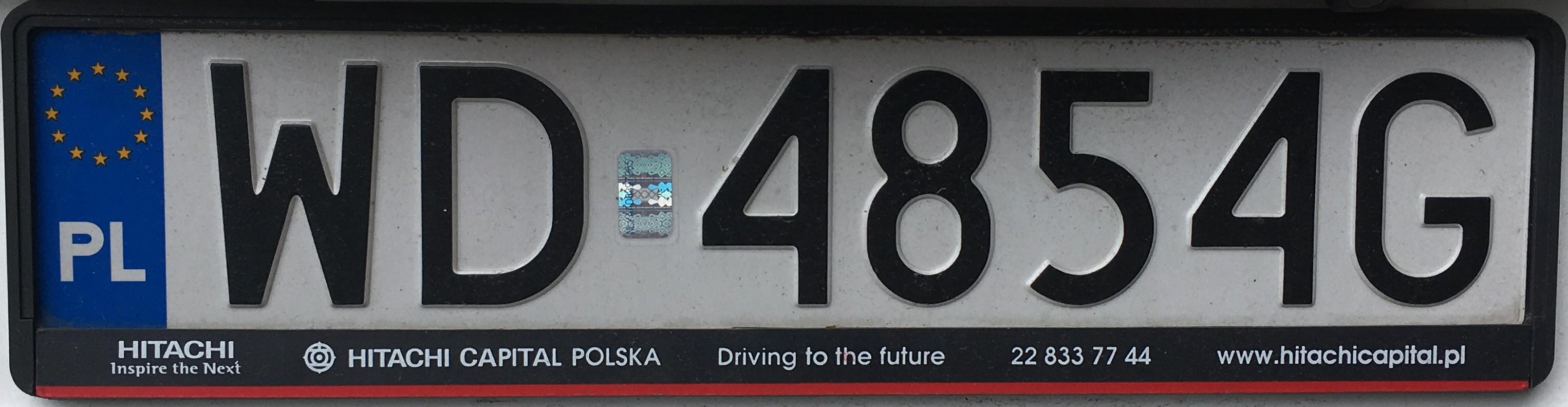 Registrační značka Polsko - WD - Warszawa-Bielany, foto: vlastní