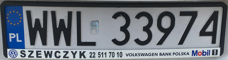 Registrační značka Polsko - WWL - Wołomin, foto: vlastní