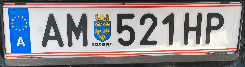 Registrační značka Rakousko - AM - Amstetten, foto: Po dálnici.cz