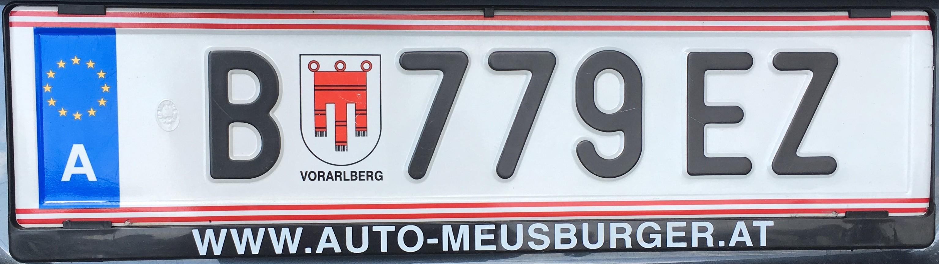 Registrační značka Rakousko - B - Bregenz, foto: vlastní