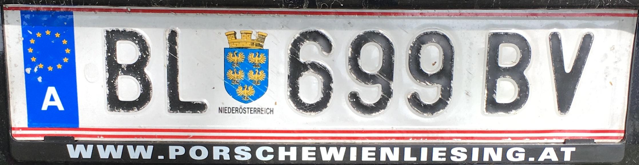 Registrační značka Rakousko - BL - Bruck an der Leitha, foto: vlastní