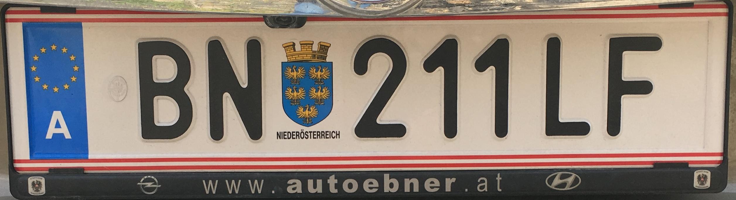 Registrační značka Rakousko - BN - Baden, foto: vlastní