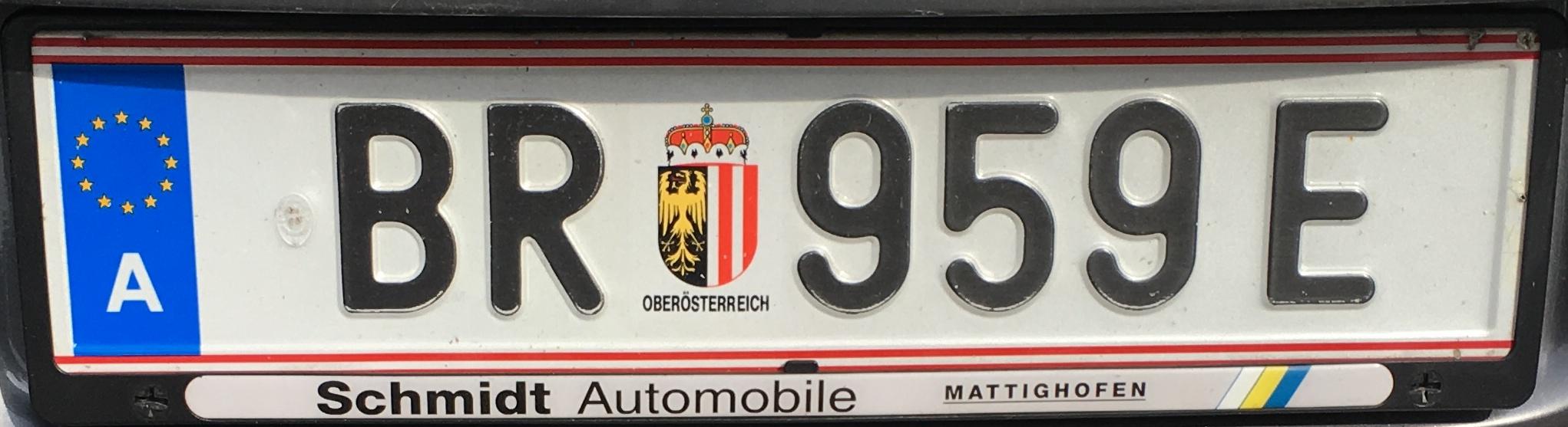 Registrační značka Rakousko - BR - Braunau an Inn, foto: vlastní