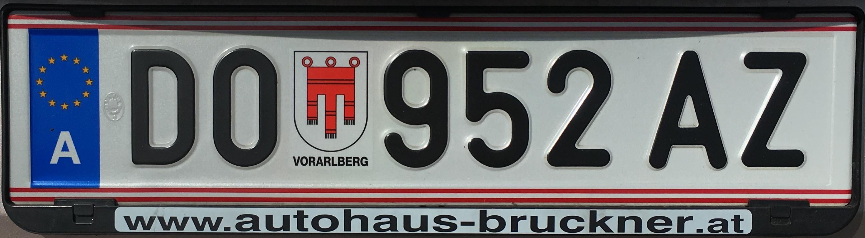 Registrační značka Rakousko - DO - Dornbirn, foto: vlastní
