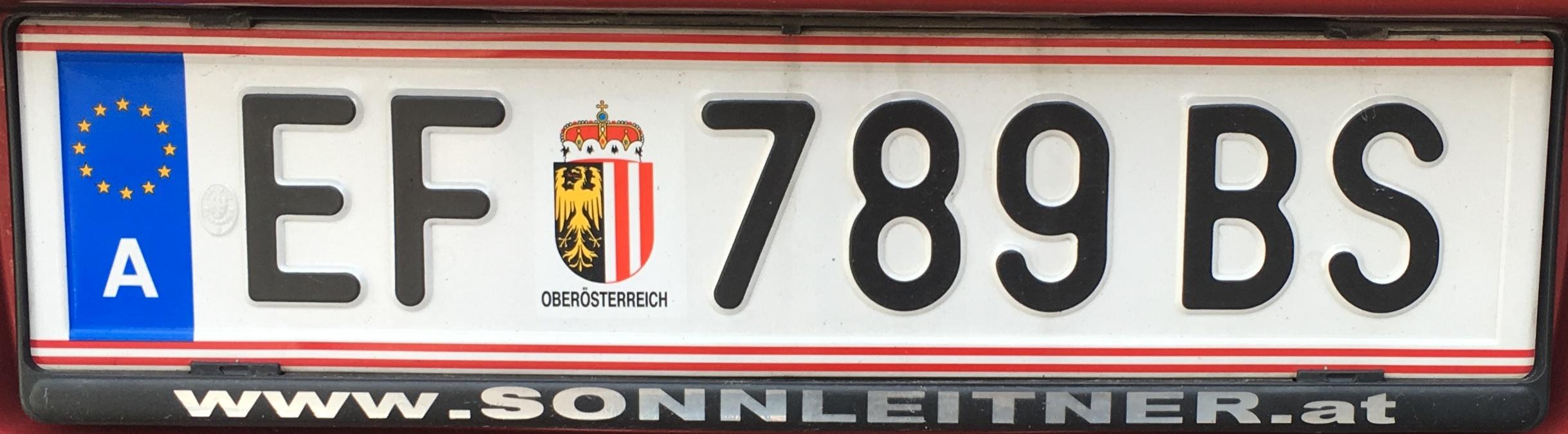 Registrační značka Rakousko - EF - Eferding, foto: vlastní