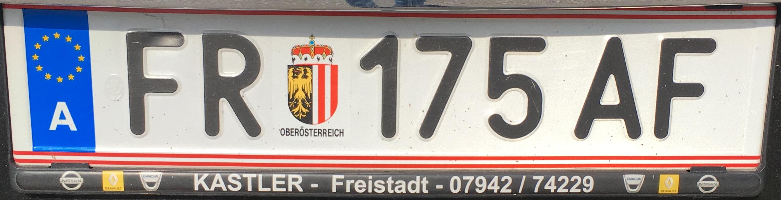 Registrační značka Rakousko - FR - Freistadt, foto: vlastní