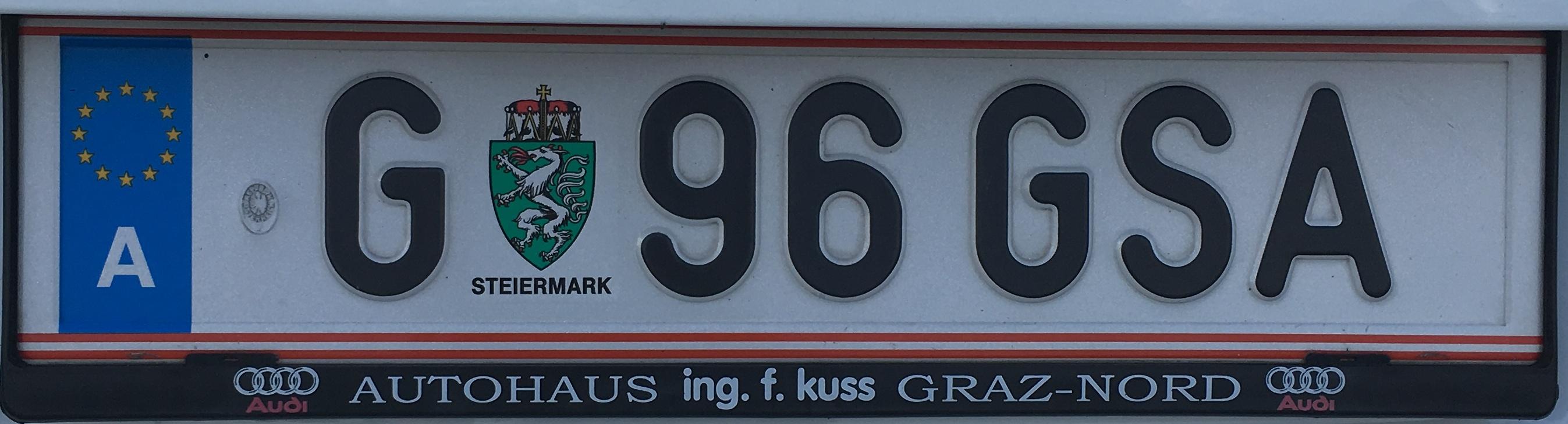 Registrační značka Rakousko - G - Graz, foto: vlastní