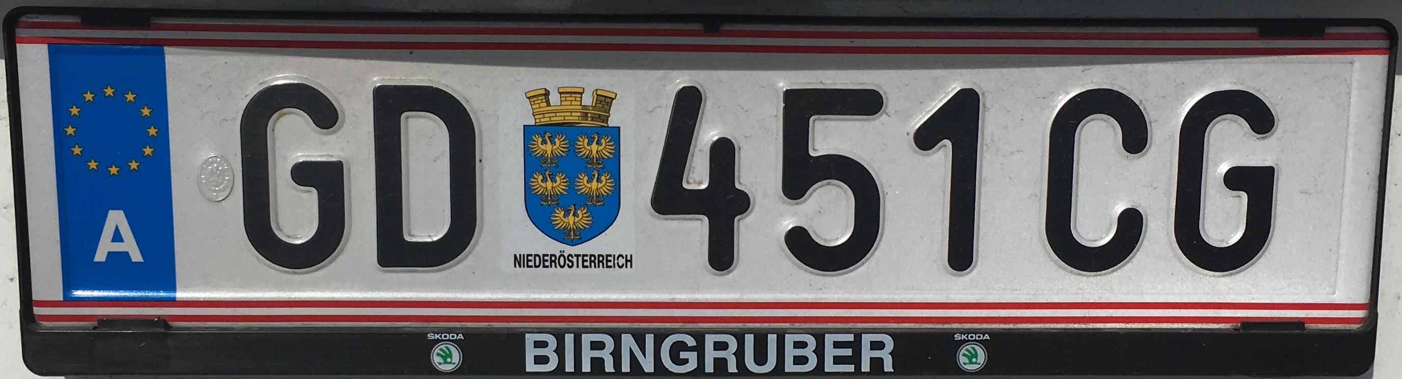 Registrační značka Rakousko - GD - Gmünd, foto: vlastní