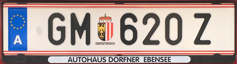 Registrační značka Rakousko - GM - Gmunden, foto: Po dálnici.cz