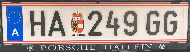 Registrační značka Rakousko - HA - Hallein, foto: vlastní