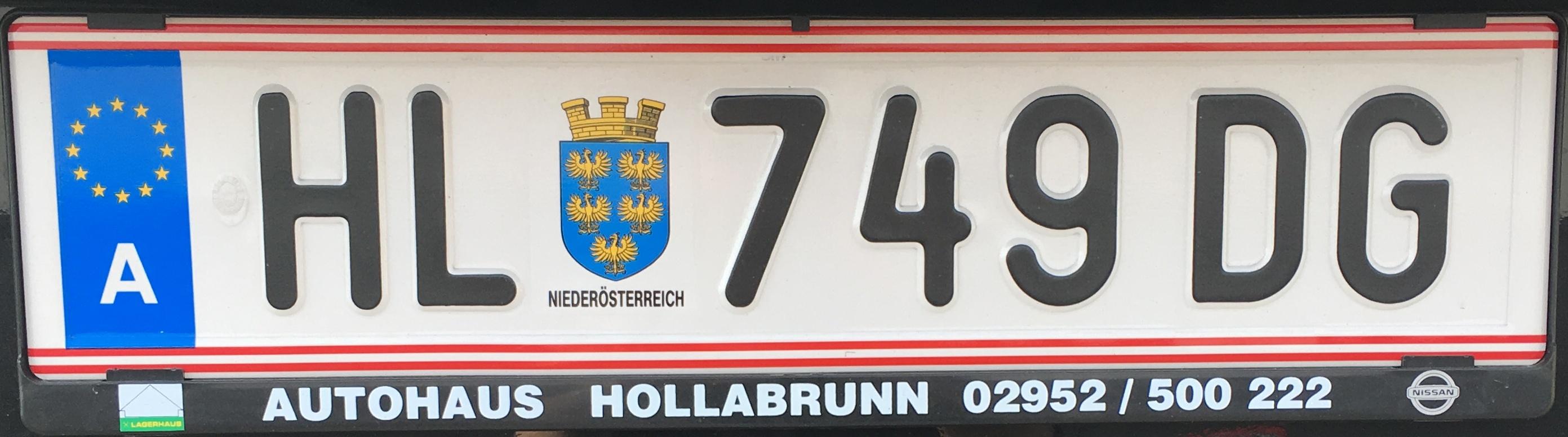 Registrační značka Rakousko - HL - Hollabrunn, foto: vlastní