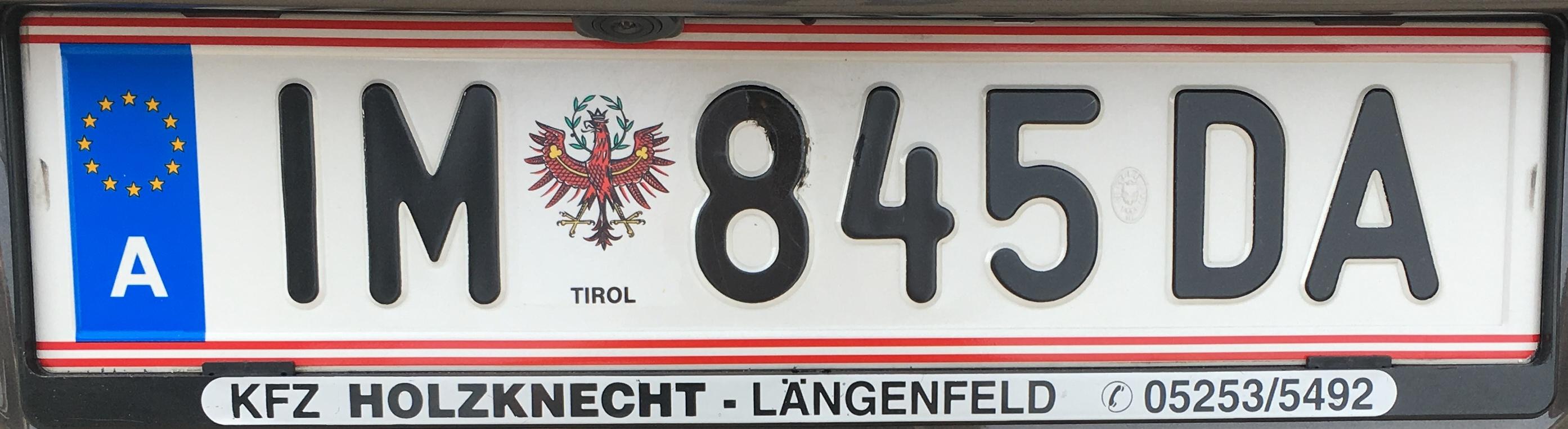 Registrační značka Rakousko - IM - Imst, foto: vlastní
