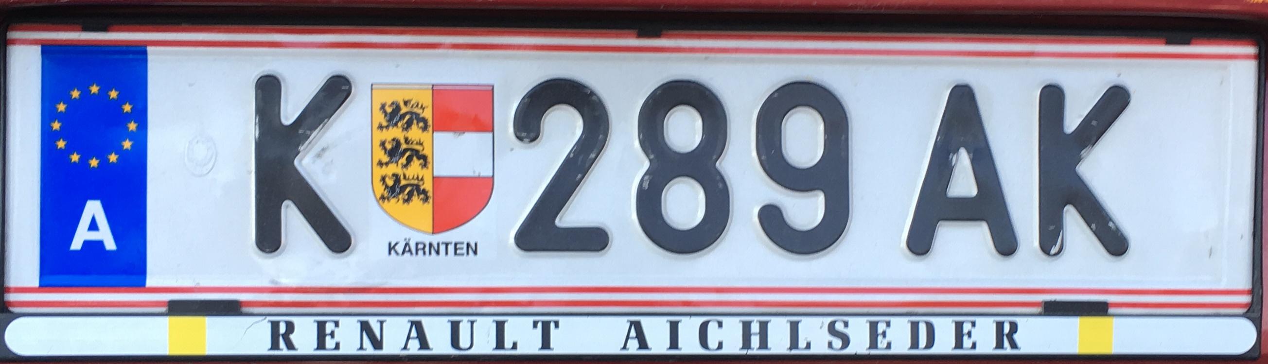 Registrační značka Rakousko - K - Klagenfurt-město, foto: www.podalnici.cz