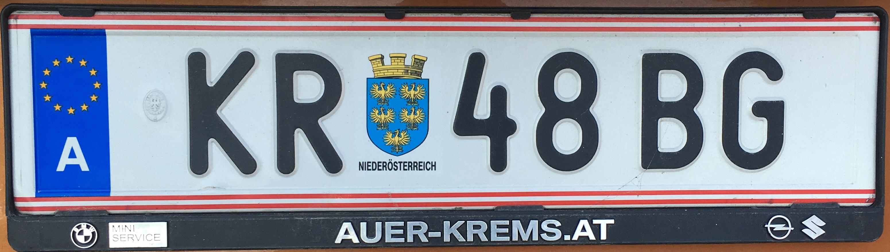 Registrační značka Rakousko - KR - Krems-venkov, foto: www.podalnici.cz