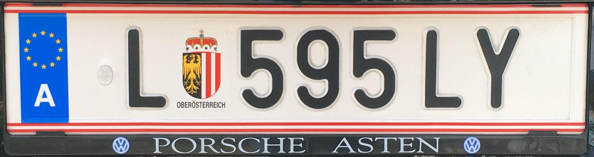 Registrační značka Rakousko - L - Linz-město, foto: Po dálnici.cz