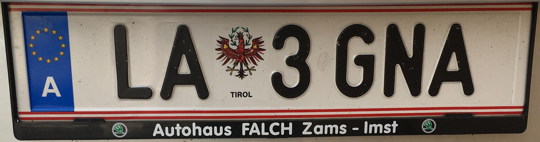 Registrační značka Rakousko - LA - Landeck, foto: vlastní
