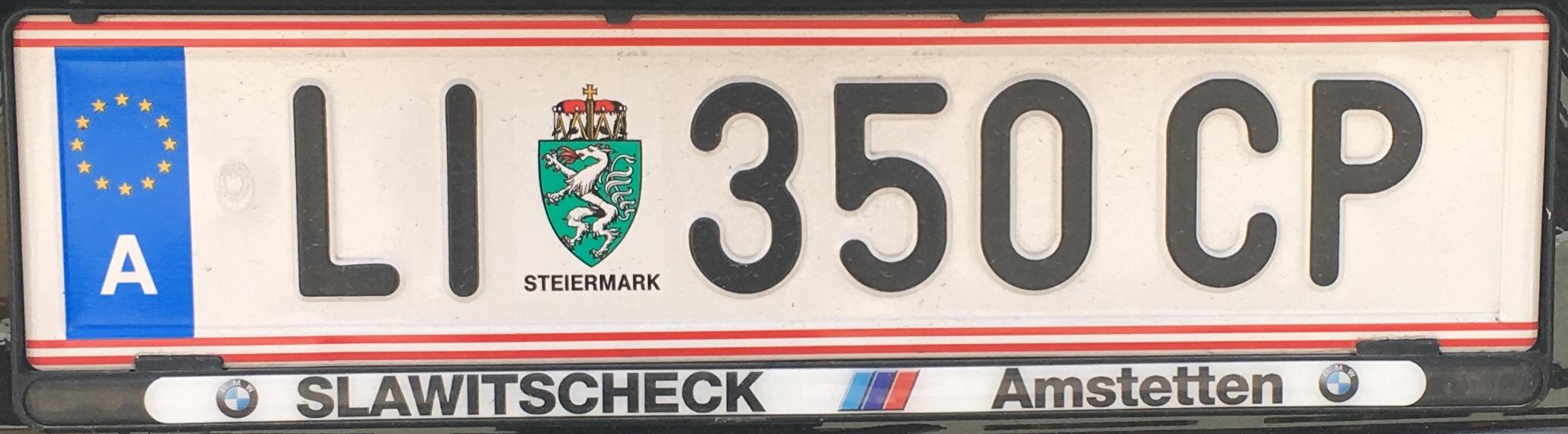 Registrační značka Rakousko - LI - Liezen, foto: Po dálnici.cz