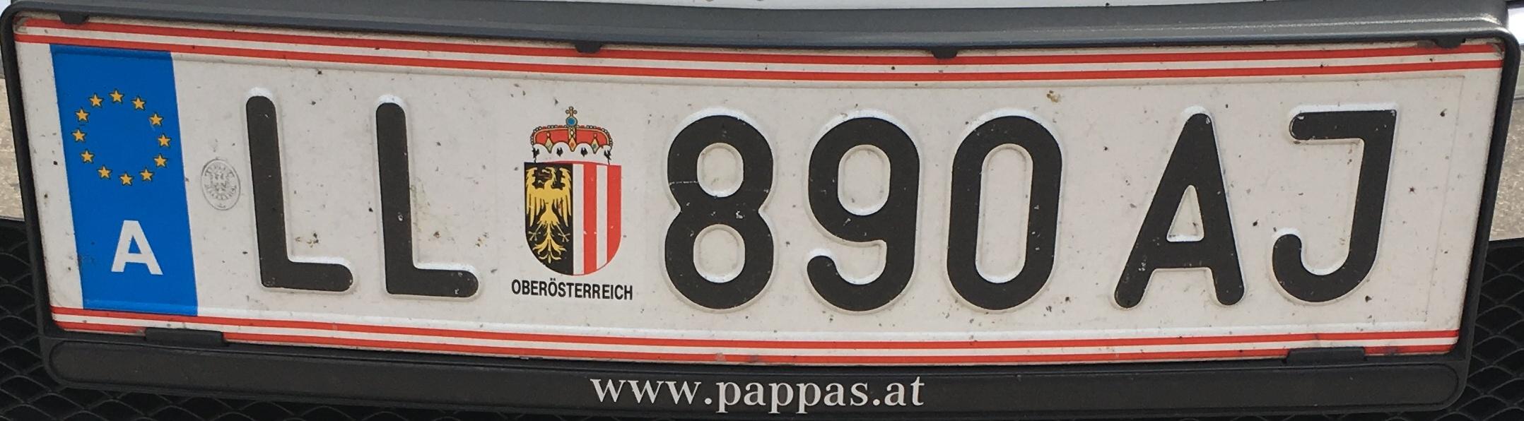 Registrační značka Rakousko - LL - Linz-venkov, foto: vlastní