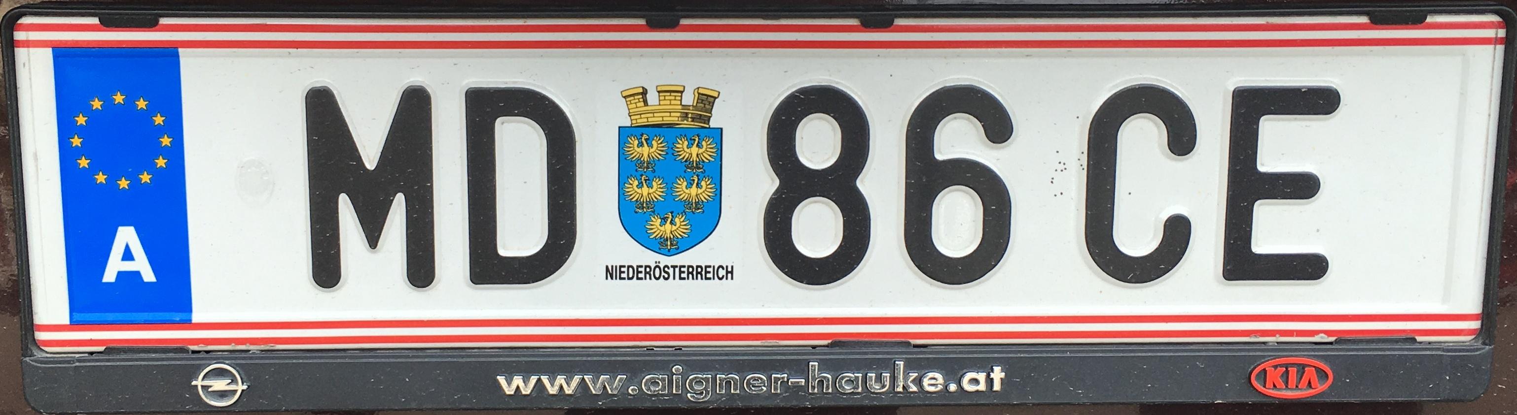 Registrační značka Rakousko - MD - Mödling, foto: vlastní