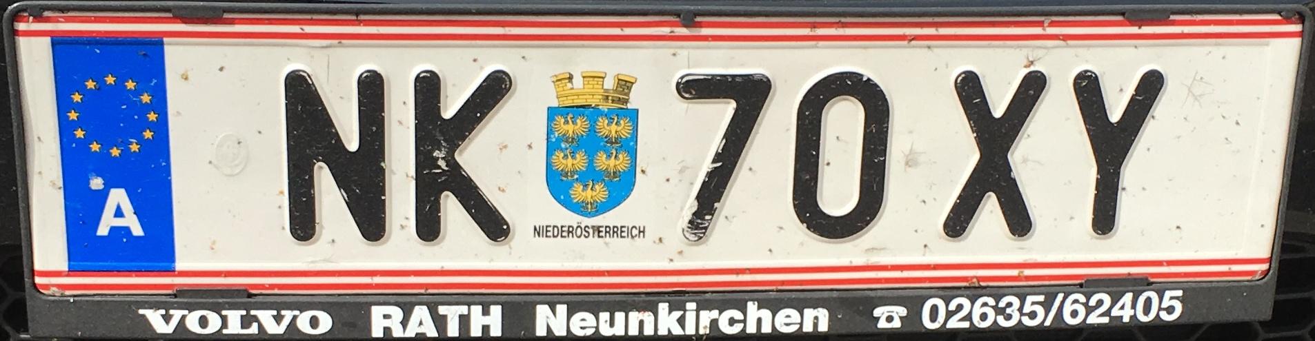 Registrační značka Rakousko - NK - Neunkirchen, foto: vlastní