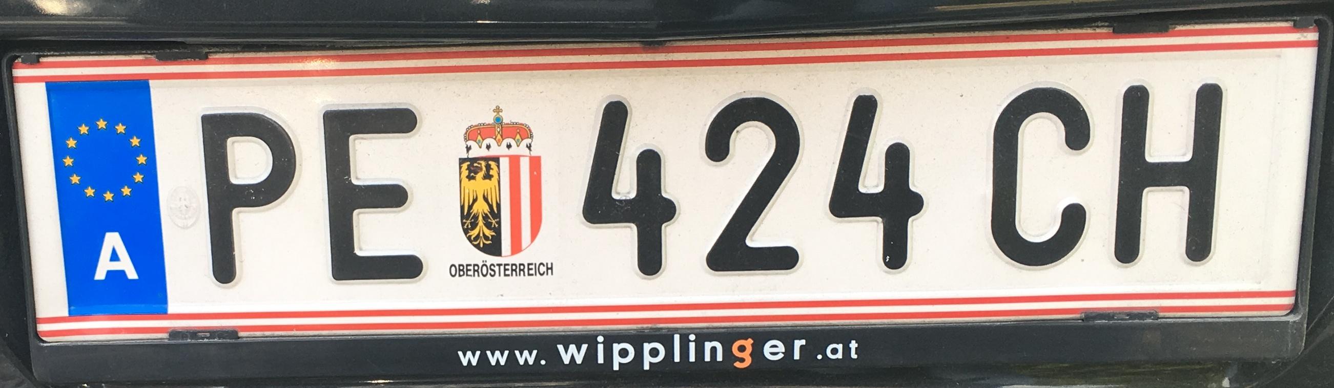 Registrační značka Rakousko - PE - Perg, foto: Po dálnici.cz