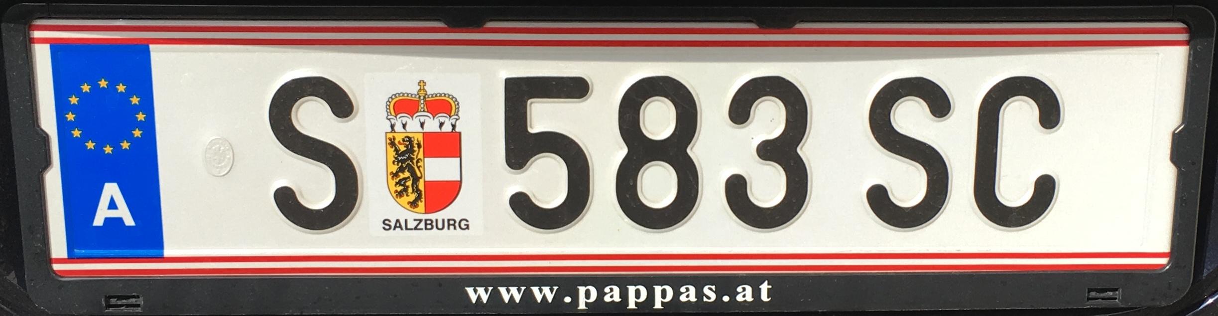 Registrační značka Rakousko - S - Salzburg-město, foto: vlastní