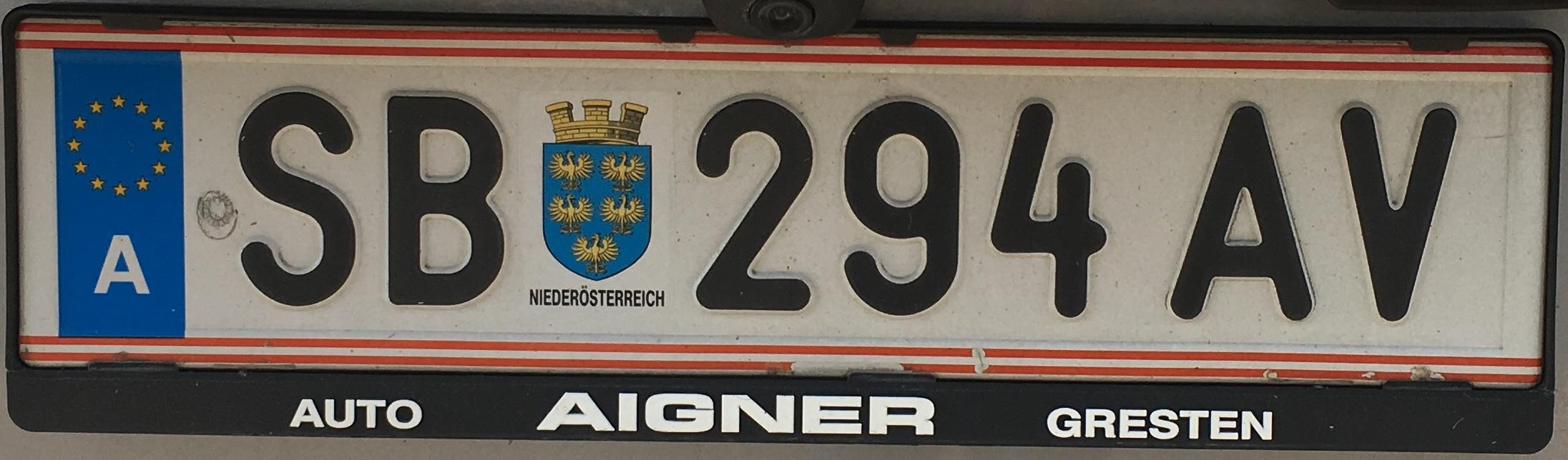 Registrační značka Rakousko - SB - Scheibbs, foto: Po dálnici.cz