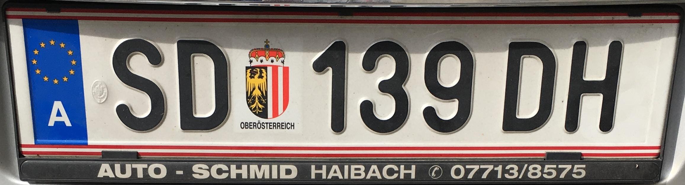 Registrační značka Rakousko - SD - Schärding, foto: vlastní