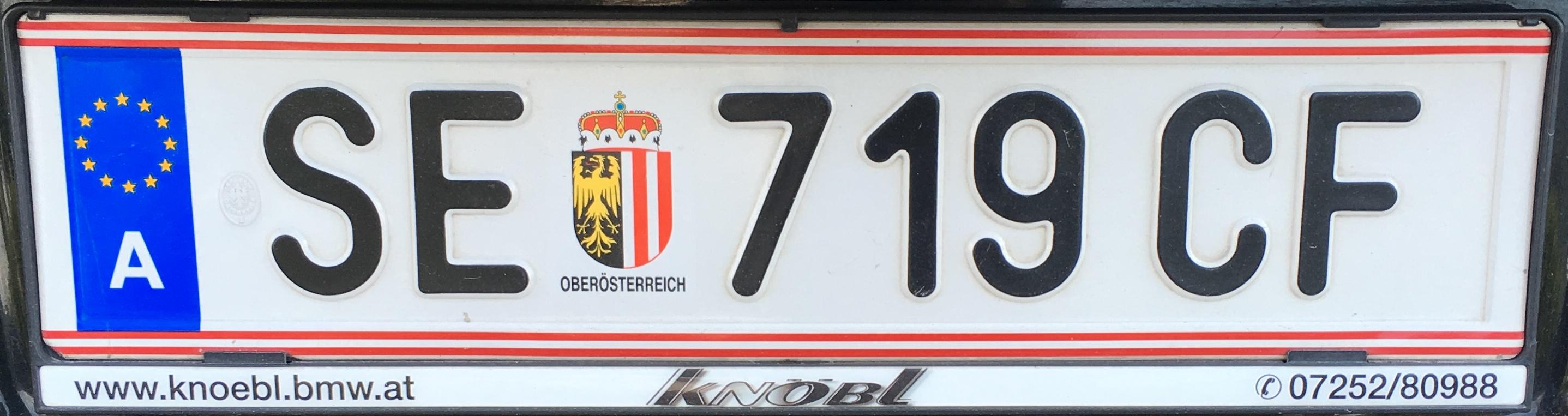 Registrační značka Rakousko - SE - Steyr-venkov, foto: Po dálnici.cz
