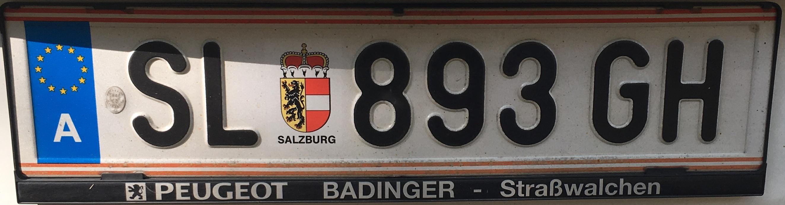 Registrační značka Rakousko - SL - Salzburg-venkov, foto: Po dálnici.cz