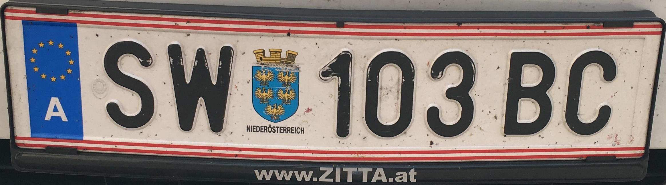Registrační značka Rakousko - SW - Schwechat, foto: vlastní