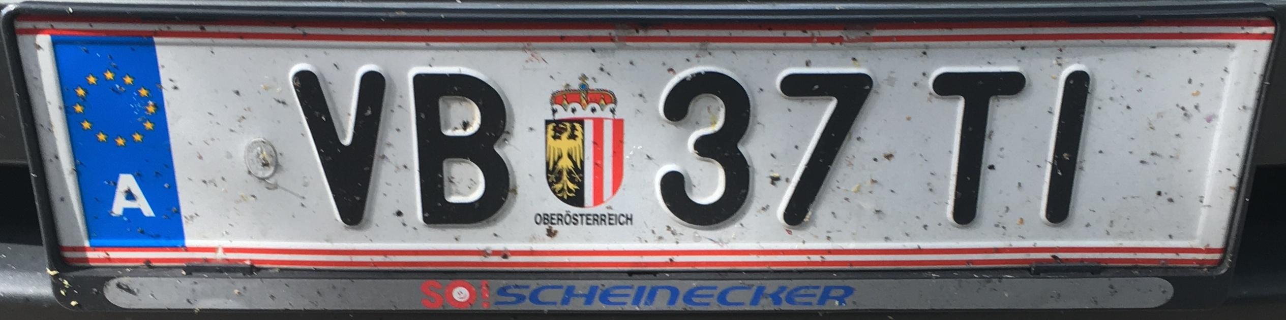 Registrační značka Rakousko - VB - Vöcklabruck, foto: vlastní