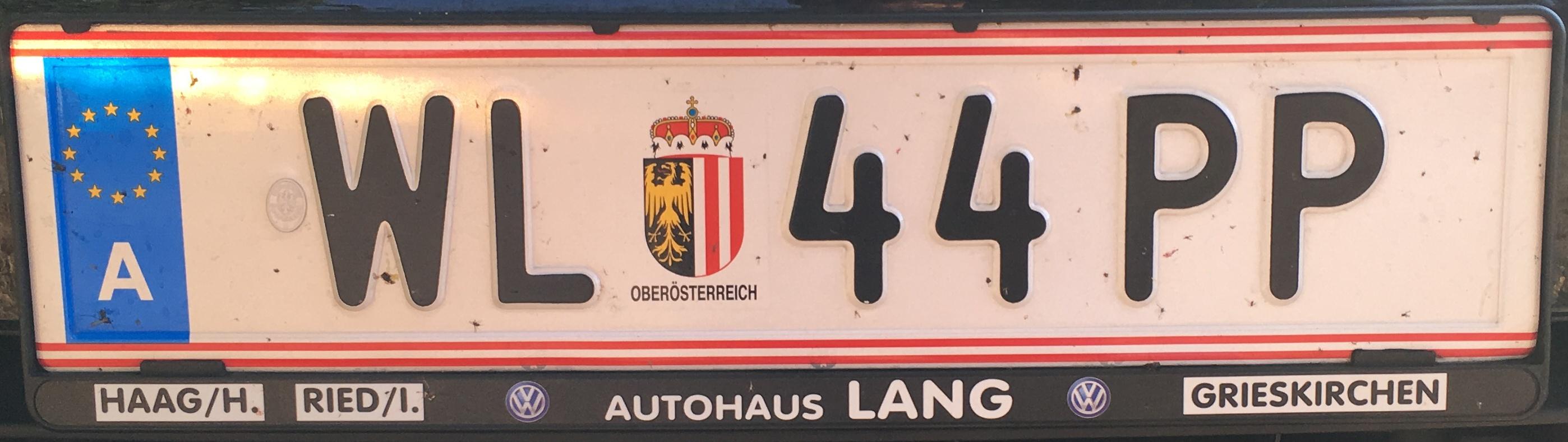 Registrační značka Rakousko - WL - Wels-venkov, foto: www.podalnici.cz