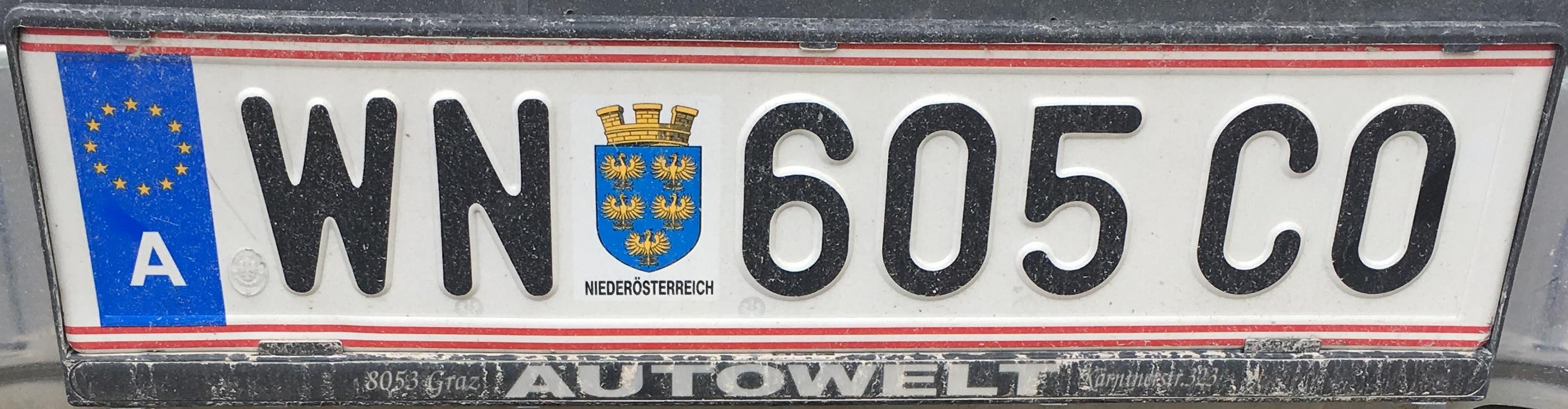 Registrační značka Rakousko - WN - Wiener Neustadt-město, foto: vlastní