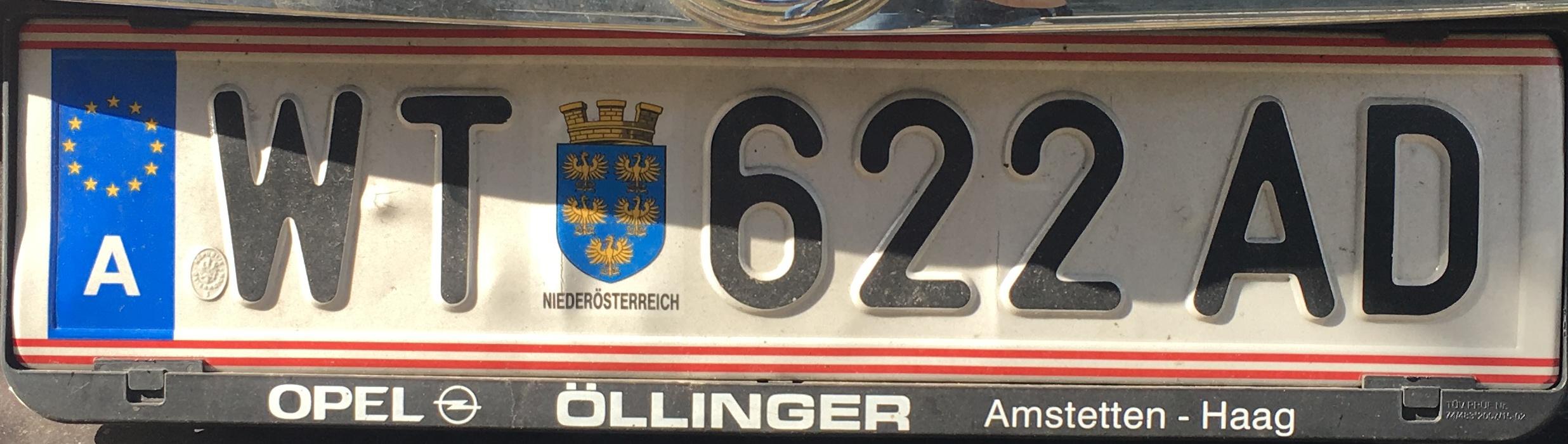 Registrační značka Rakousko - WT - Waidhofen an der Thaya, foto: Po dálnici.cz