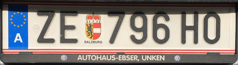 Registrační značka Rakousko - ZE - Zell am See, foto: vlastní