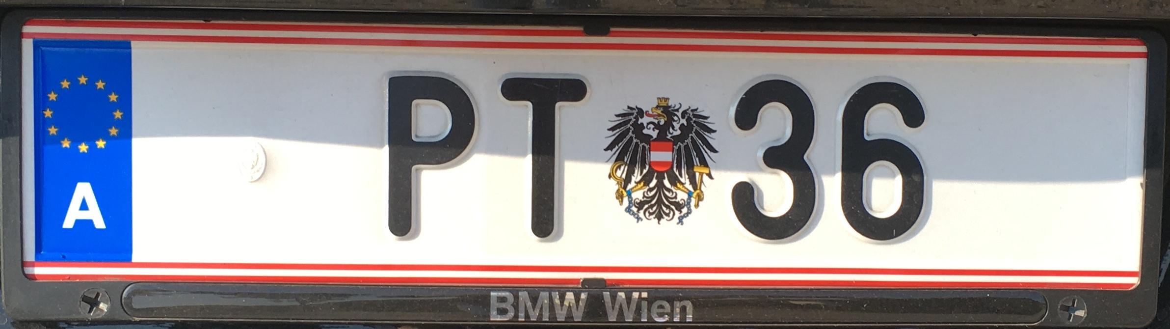 Registrační značka Rakousko - poštovní, foto: www.podalnici.cz