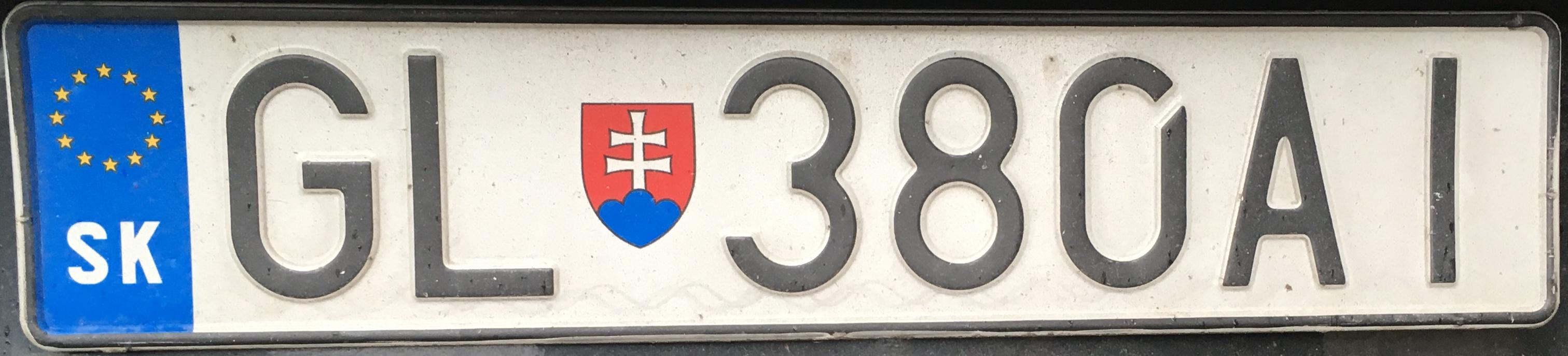 Registrační značka Slovensko - GL - Gelnica, foto: www.podalnici.cz
