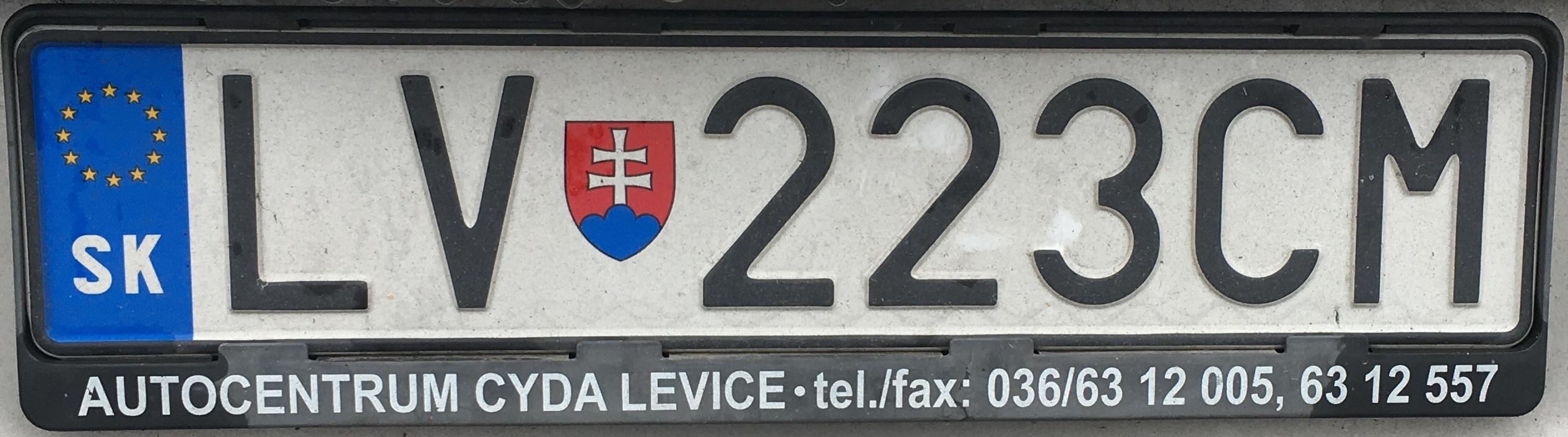 Registrační značka Slovensko - LV - Levice, foto: www.podalnici.cz