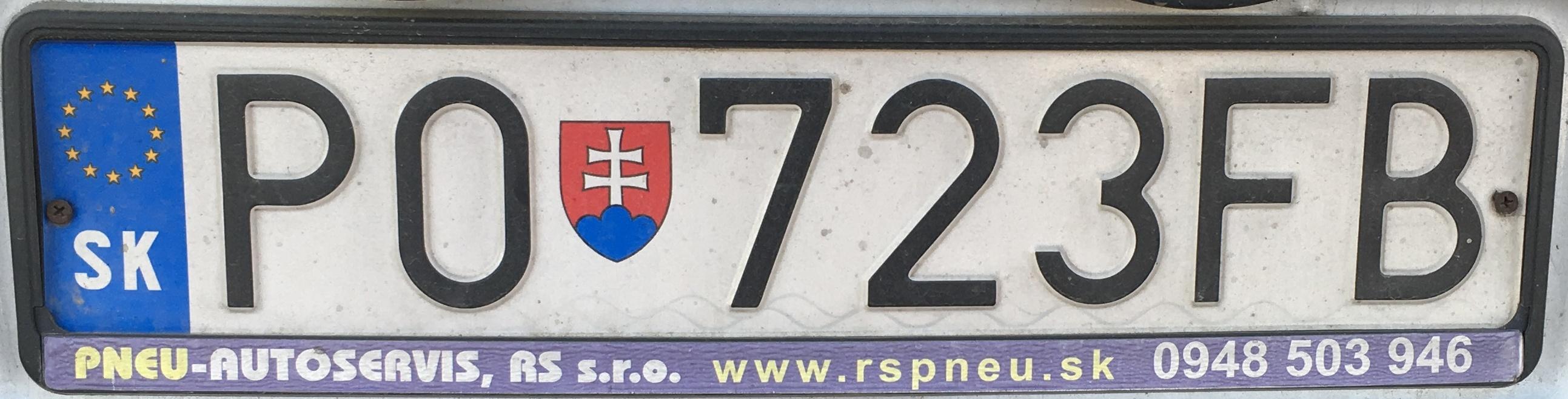 Registrační značka Slovensko - PO - Prešov, foto: www.podalnici.cz