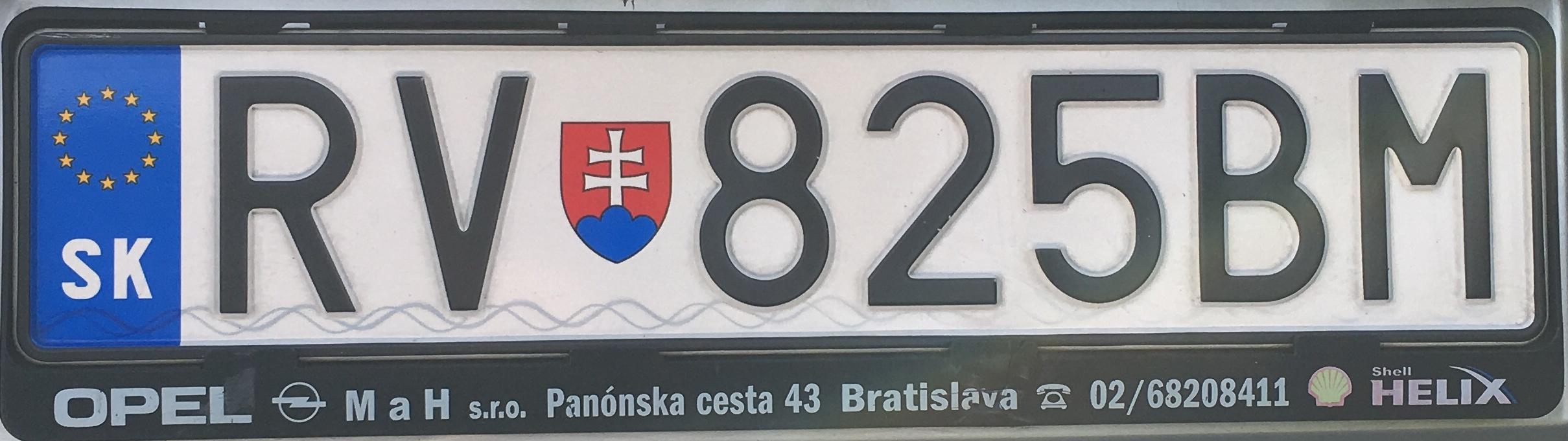 Registrační značka Slovensko - RV - Rožňava, foto: www.podalnici.cz